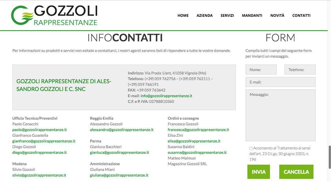 Gozzoli Rappresentanze website